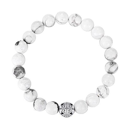 Natürliche 8 mm Edelsteine MetJakt Heilung Crystal Stretch Perlen Armband Armreif mit 925 Sterling Silber Double Happiness Anhänger (Howlite)