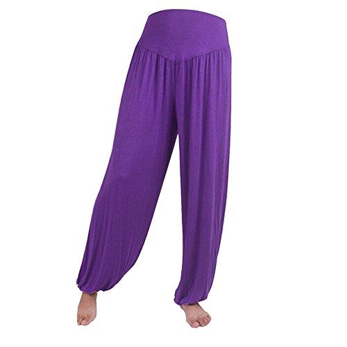 Sanwood - Pantalon de sport - Femme noir vert fluorescent taille unique Violet