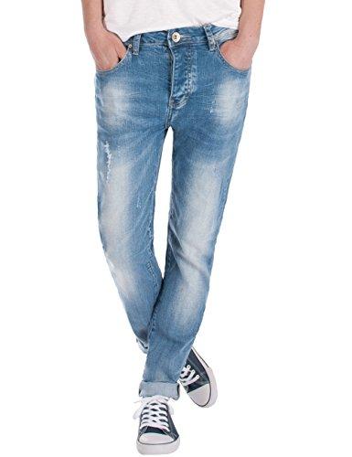Fraternel Damen Jeans Hose Boyfriend Baggy used relaxed fit Hellblau XXXL / 46 - W36 (Jeans Easy Fit Flare)