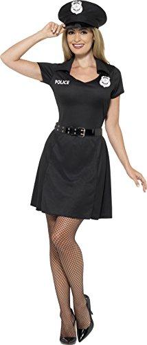 Smiffy's 45505M - Damen Polizei Kostüm, Kleid, Hut und Gürtel, Größe: 40-42, schwarz