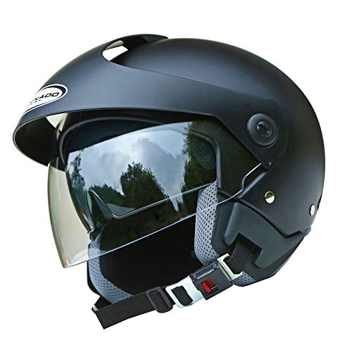 Saferide | Helm Motorrad Mit Sonnenblende Matt Schwarz XXL - 63-64 cm Rollerhelm Quad Damen Herren Roller Motorradhelm Regenschutz Jugendliche Schutzhelm Sturzhelm Erwachsene Moped Mofa