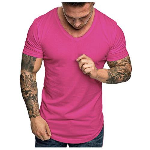 Xmiral T-Shirt Herren Einfarbig Kurzärmeliges O-Ausschnitt Oberteile Atmungsaktives Sportshirt Komfortables kurzärmliges Funktionsshirt(Hot Pink,XL)