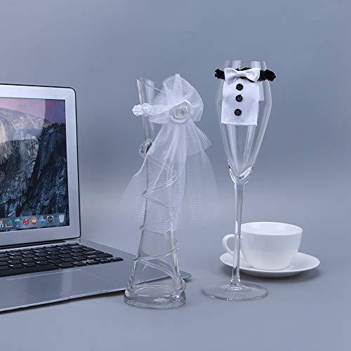 BHPSU Weinglas-Abdeckungen für Brautpaar und Bräutigam, Kostüm, Glas-Dekoration für Hochzeit,...