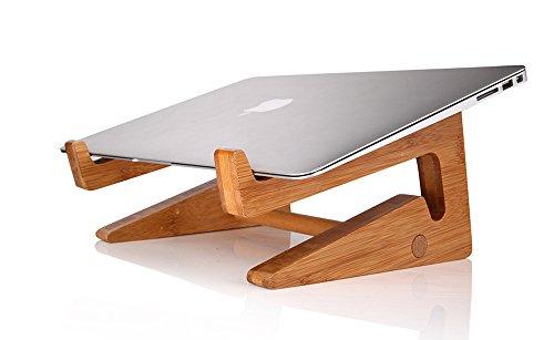 OUTOWIN Kreativ Bambus Laptopständer klappbar - Ergonomis Computer Desktop Ständer Vertikal Halterung Wärmeableitung für Alle Apple Macbook, MacBook Air / Macbook Pro / Retina MacBook und Andere 11''-15'' Laptops (Weniger als 35mm dicke)