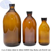 Ein Set von 250 ml, 500 ml und 1000 ml BRAUNGLAS-Flaschen mit schwarzen Deckel preisvergleich bei billige-tabletten.eu