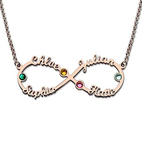 lienname Halskette personalisierte Infinity Halskette 4 Name & Birthstone - Custom jeden Namen ()