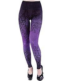 Leggings Elásticos Punk Góticos Púrpura de Restyle Ramas Gráfico Cielo Nocturno