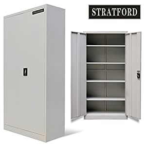 amazon storage cabinets stratford metal cabinet 2 door cupboard 5 shelves 195cm 10556