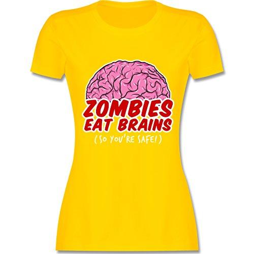 Shirtracer Halloween - Zombies Eat Brains - So You´re Safe! - Damen T-Shirt Rundhals Gelb