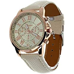 JACKY Women's Roman Numerals Faux Leather Analog Quartz Wrist Watch White