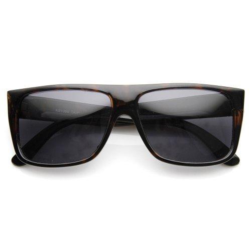 ZeroUV Klassische Old School Eazy E Flat Top polarisierte Sonnenbrille Locs 1 55 Einheitsgröße Dark Tortoise