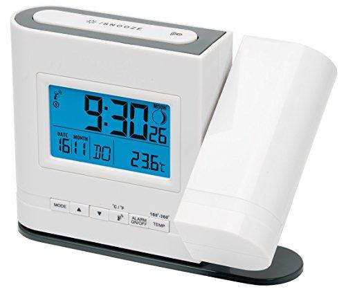 MEDION Projektions-Funkuhr (MD13331) LC Display mit blauer Hintergrundbeleuchtung, Integrierter Bewegungssensor, Projektion der Uhrzeit, Anzeige der Mondphase, eckig, weiß