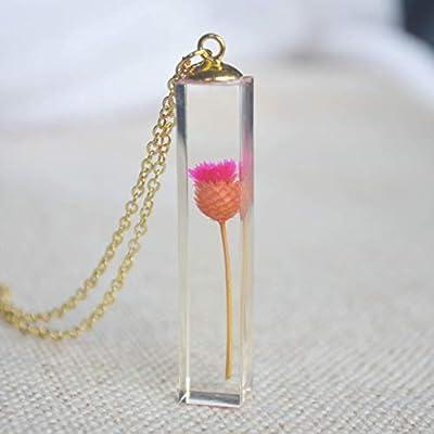 Rose Marguerite Vraie Fleur Transparent Cube Résine Plaqué Or 18k Chaîne Colliers avec pendentifs