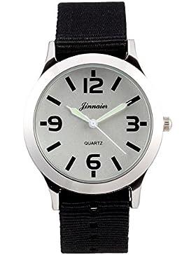 Leaders Mode Freizeit Uhr Frauen Party Quarzuhr Männer Sport Armbanduhr mit Leinwand Armband