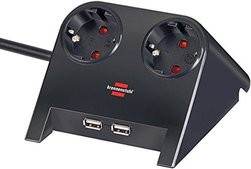 Brennenstuhl Desktop-Power, Steckdosenleiste 2-fach für den Tisch (Tischsteckdose mit 1,8m Kabel, Gummifüßen und 2-fach USB) Farbe: schwarz poliert