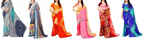 White World Women's Georgette Printed Saree Combo With Blouse Piece(RN_Combo_1+2+3+4+5+6)