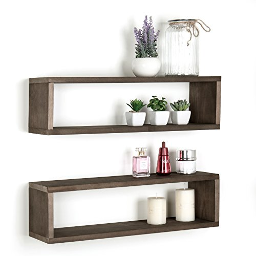 Holz-Finish Wand montiert 24Hängeregal, rechteckig Display Shadow Boxen, Set von 2, holz, dunkelbraun, Large