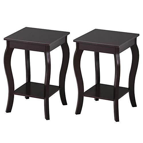 Yaheetech 2er Set Nachttisch, Nachtkonsole, Beistelltisch mit Tischplatte aus MDF, Telefontisch, dekorativ, Wohnzimmer, Schlafzimmer, 38 x 38 x 61 cm, Espresso - Schlafzimmer-modern-kaffee-tisch