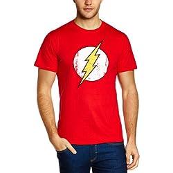 DC Comics- Camiseta de Flash con cuello redondo de manga corta para hombre, talla 2XL, color rojo