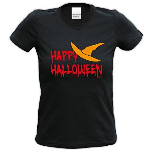 Extrem stylisches Halloween-Girlie-Damen-Fun-T-Shirt als Geschenke-Idee Motiv: Happy Halloween Farbe: schwarz Schwarz