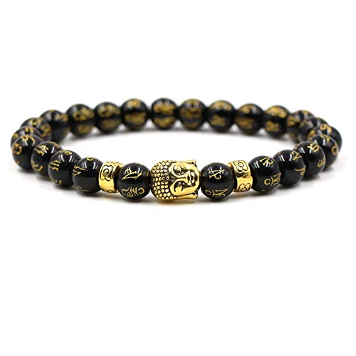 FG Jewels Bracelet Protection Symbole Bouddha Tibétain Hommes/Femmes Bracelet Pierre Naturelle Lithothérapie Agate Noire 8mm Bracelet Bien-Etre Bracelet Porte Bonheur