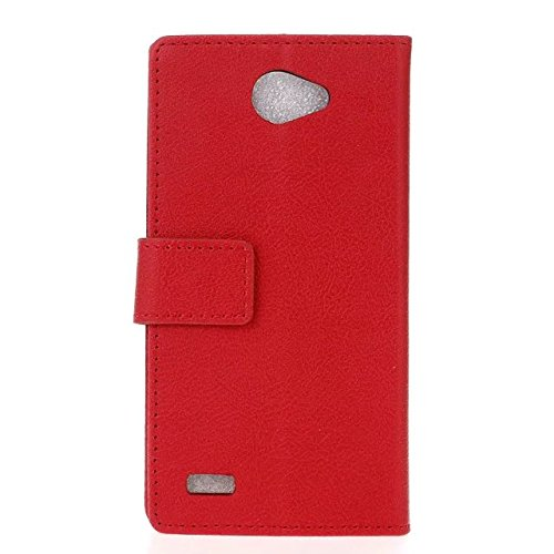 Solid Color Kas Textur Pattern Leder Schutzhülle Case Horizontal Flip Stand Hülle mit Karten Slots für LG Bello 2 ( Color : White , Size : LG Bello 2 ) Red