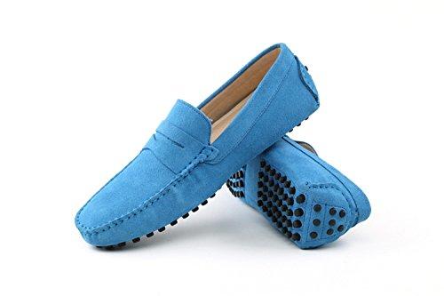 Minitoo ,  Herren Durchgängies Plateau Sandalen mit Keilabsatz Babyblau