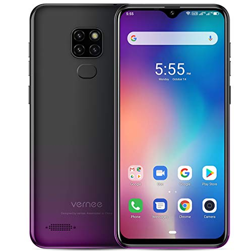 Vernee M7(2019) Smartphone Ohne Vertrag, 4GB RAM 64GB ROM, Android 9.0, 3500 mAh Batterie, Triple 13MP Haupt/8MP Frontkameras, Dual SIM 4G Handy, 3 Kartensteckplatz, 6.1 Zoll, Face-ID, GPS(schwarz)