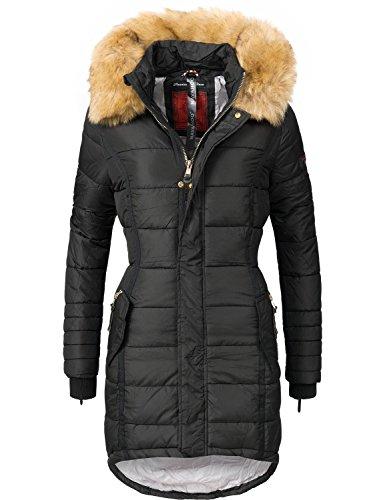 Navahoo papaya cappotto trapuntato invernale da donna con cappuccio in pelliccia sintetica nero l