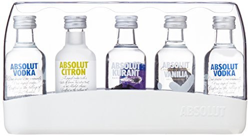 Absolut Five Vodka Set / 5er Pack Absolut Vodka Mix mit Absolut Vodka Original, Absolut Kurant, Absolut Citron & Absolut Vanilia / 5 x 50 ml