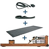 Preisvergleich für Water Rower Rudergerät Kirsche + S4 Monitor Empfänger Brustgurt Bodenschutzmatte