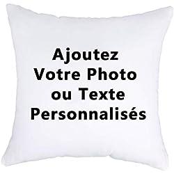 Luxbon Housse de Coussin 45x45 cm Double-Face Personnalisé Photo et Texte Taie d'oreiller Decor DIY Anniversaire Noël Saint Valentin Cadeau
