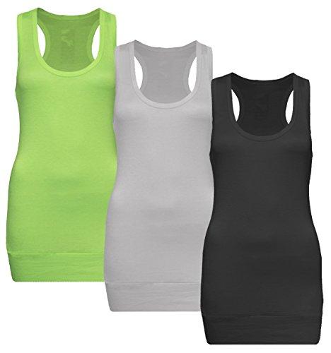 Apple Top Shirt (3x Damen Tanktop Racerback - Beach Top - Tank Tops - 3er Pack Ringertop - Ringerrücken - Longtop - Trägertop - TShirt - 3er Pack Schwarz + Weiss + Apple green - Gr. 36-38 (S-M))