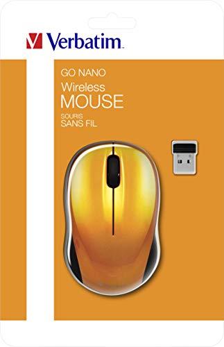 Verbatim GO NANO kabellose Maus - Optische Funkmaus für PC und Mac mit 2.4 GHz, 1600 dpi Auflösung, Nano-Receiver, drei Tasten, ergonomisch, volcanic orange, 49045