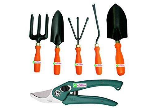Easy Gardening - 601 - Garden Tools Kit (6Tools) Weeder,Trowel Big,Trowel Small,Cultivator,Fork, Pruner