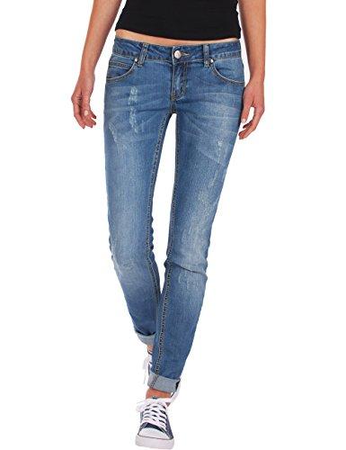 Fraternel Damen Jeans Hose Low Rise Used Hüftjeans Stretch Blau M / 38 - W30 -