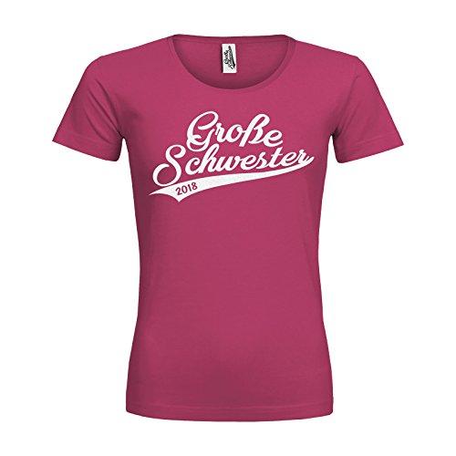 Große Schwester 2018 Handwriting Mädchen Kinder T-Shirt Textil raspberry / Motiv glitterweiss Gr. 5 - 6 Jahre (Grils Kleidung)