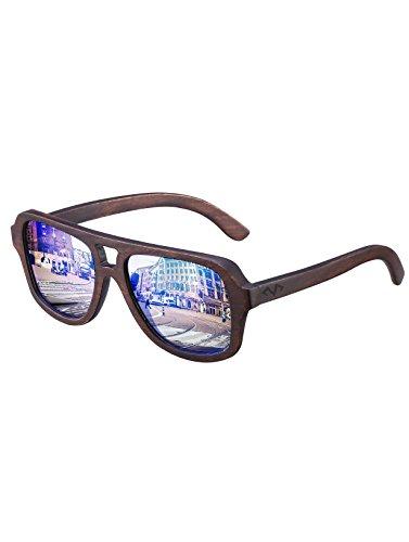 MIAROZ Bambus-Sonnenbrille mit Brillen-Etui, polarisiert - UV400 - verschiede Farben u verspiegelte Gläser, mit Bügeln aus Bambus | UV-Schutz (Blau)