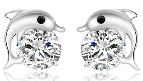 SaySure - S925 sterling silver stud earrings female models Crystal Dolphin (Female Model Kit)