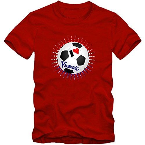 Kroatien EM 2016 #6 EM T-Shirt | Herren | HRVATSKA | Kockasti |Trikot | Nationalmannschaft © Shirt Happenz Rot (Red L190)