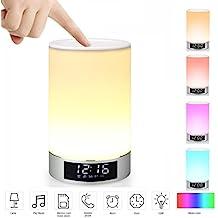 Mabor Wake-Up Light RGB Lichtwecker Bluetooth Lautsprecher Farbwechsel Lampe Nachttischlampe Touch control lampe RGB& LED Kinder Nachtlicht Modus, Musik Stimmungslicht Tischlampe, Zeituhr, TF-Karten-Musik Spielen, Schlafmodus für Kinderzimmer,Schlafzimmer.