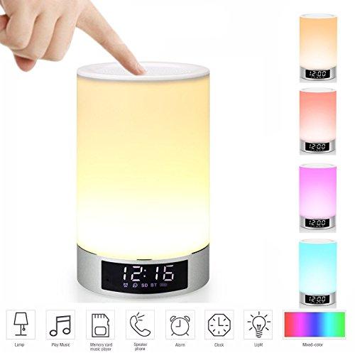 Mabor Wake-Up Light RGB Lichtwecker Bluetooth Lautsprecher Farbwechsel Lampe Nachttischlampe Touch Lampe LED Kinder Nachtlicht Modus, Musik Stimmungslicht Tischlampe,Zeituhr,TF-Karten-Musik Spielen
