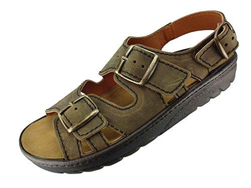 Preisvergleich Produktbild Algemare Sandalette Moor Nubuk Algen-Kork Wechselfußbett Herstellung in Deutschland 7691_7878 Herrensandale,  Größe:44