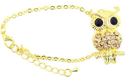 lizzyoftheflowers–Gold und Champange. Lovely Owl Charm Armband mit Kristall