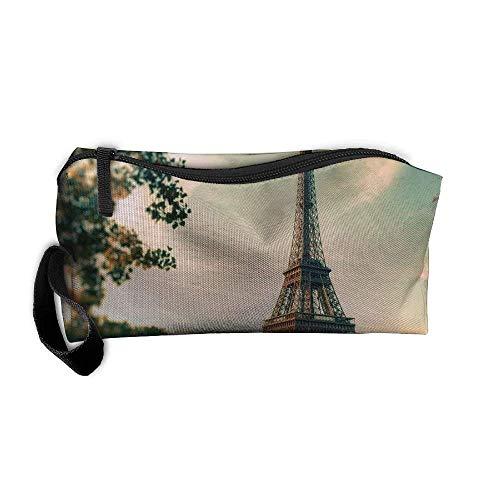 Paris Eiffel Tower Cosmetic Bags Brush Pouch Makeup Bag Zipper Wallet Hangbag Pen Organizer Carry Case Wristlet Holder Makeup Brush Bag (Paris Supplies Tower Eiffel Party)