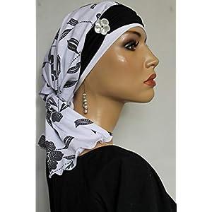 Beanie Mütze Bandana Blumen Schwarz Weiß mit Band Sommermütze little things in life Chemo Cap Hat Chemomütze Mütze bei Krebs Kopfbedeckung Turban