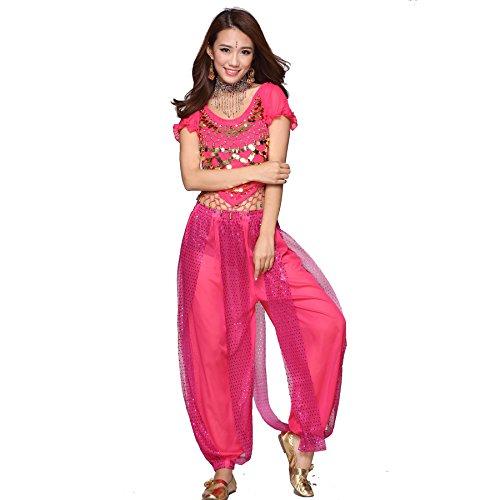 Danza del ventre Costume Set Indian Dance Monetes Top & Sequins Bloomers dark pink