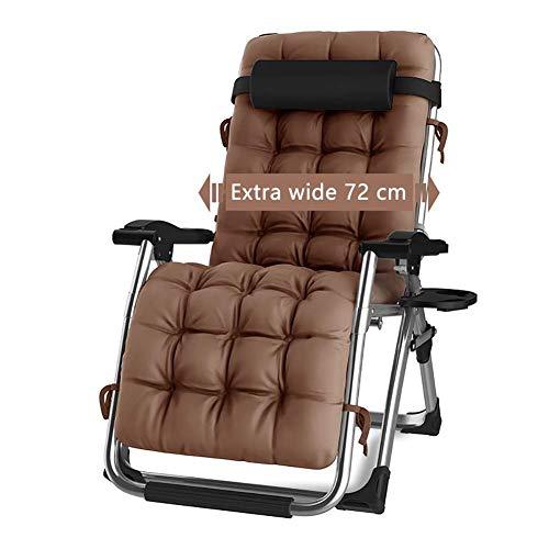 DQCHAIR Schwerelosigkeit Chaise Lounges Patio Liegestuhl Klappstuhl im Freien Verstellbare Liege Beach Camping Tragbarer Stuhl für schwere Menschen mit Kissen (Farbe : Braun) - Adirondack Patio Schaukelstuhl
