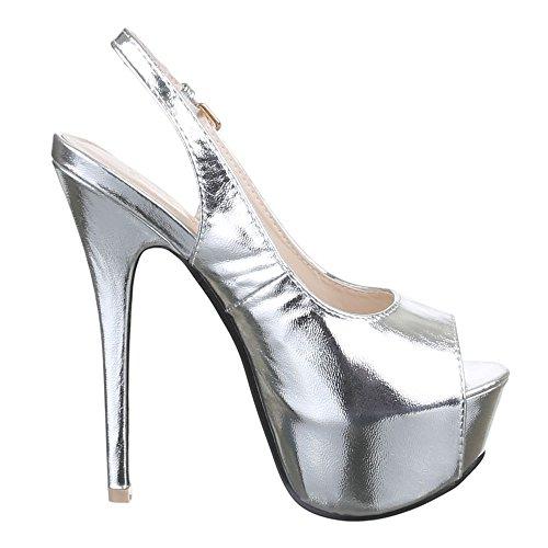 Ital-Design , chaussures compensées femme Argent - Argent