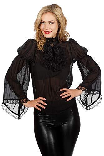 narrenkiste W4204B-44 schwarz Damen Piraten-Gothic Spitzenbluse-Rüschenbluse (Schwarze Piraten Königin Kostüm)